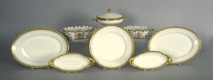 Six pieces Limoges porcelain, together with a pair