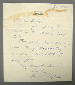 Two letters signed by Andrew Wyeth and Irving Berl