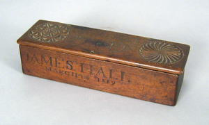 Carved pencil box inscribed James Hall, March 16,8