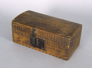 New England painted basswood box, 19th c., 5