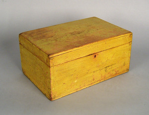 New England painted lock box, 19th c., with vibran