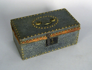 Painted lock box with tack decoration, 5 1/2