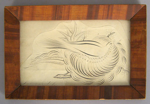 Calligraphy drawing, 19th c., with painted frame,/