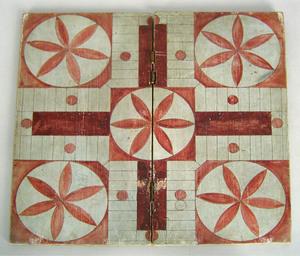 Folding Parcheesi board, 19 1/4