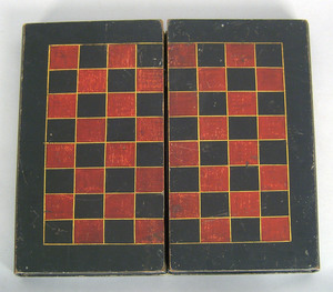 Red and black folding gameboard, 17 3/4