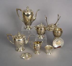 Dominick & Haff sterling silver tea service, toget