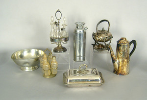 Two silver plated cruet sets, together with a cove