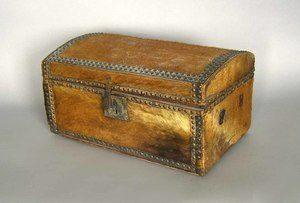 Hide covered dome lid box, 19th c., 10 1/4