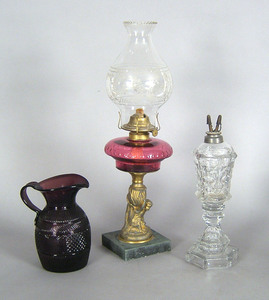 Two glass fluid lamps, 19th c., 12 1/4