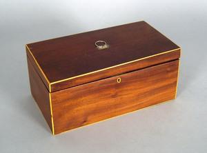 Hepplewhite mahogany tea caddy, early 19th c., 5