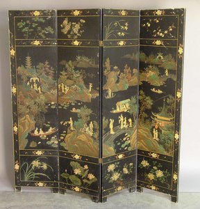 Oriental four part folding screen, early 20th c.,2