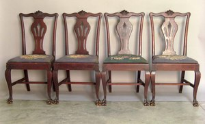 Set of six Chippendale style mahogany dining chair