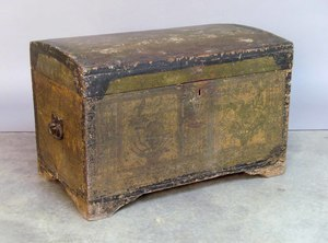 Painted pine dome lid trunk, 19th c., 18