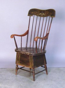 New England paint decorated commode chair, 19th c.