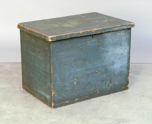 Painted pine lock box, 19th c., 17