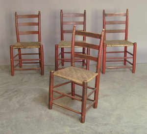Set of four painted ladderback side chairs, 19th c