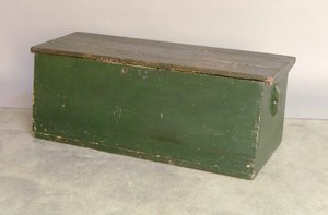 Green painted trunk, 19th c., 15 1/4
