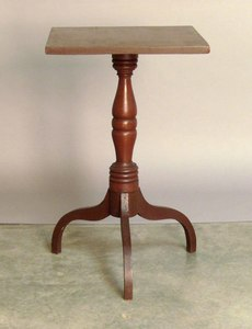 Red stained candlestand, 19th c., 27 3/4