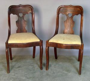 Pair of mahogany saber leg chairs, ca. 1840.