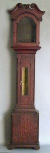 Pennsylvania stained pine tall clock case, early 1