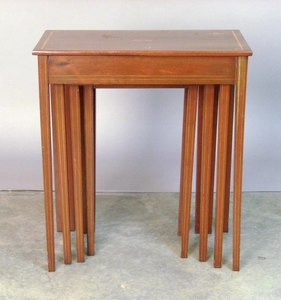Four federal style mahogany nesting tables.