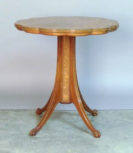 Victorian marquetry center table, 29 1/2