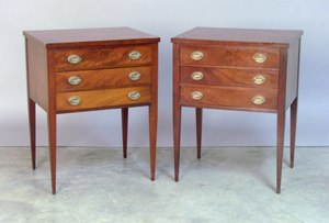 Pair of Federal style mahogany end tables by Johns
