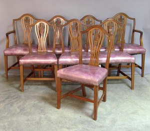 Set of eight Federal style mahogany dining chairs,