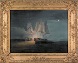 Oil on canvas seascape, 19th c., depicting naval e