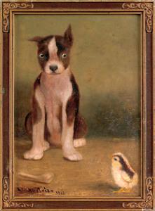 Ben Austrian (American 1870-1921), oil on paper of