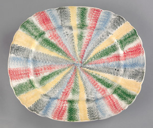 Rare five color rainbow spatter platter