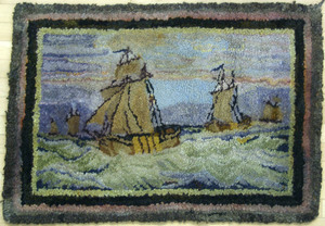 Two hooked rugs, early 20th c., to include one ina