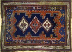 Persian throw rug, ca. 1920, 6' x 4'4