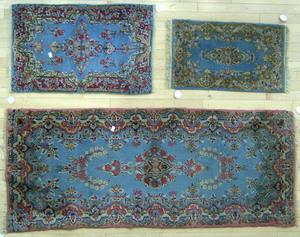 Three Kirman mats, 6' x 2' 6