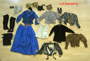 Group of Victorian clothing and accessories.