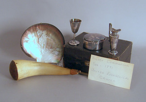 Silver plated communion set, together with a carve