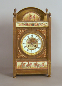 Marti brass mantle clock, retailed by Volimer & So