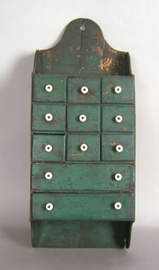 Hanging seed cabinet, late 19th c, 24