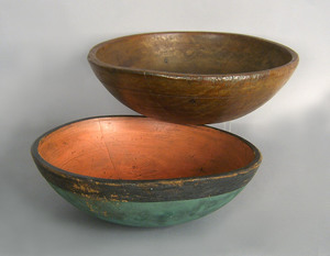 Painted treen bowl, 19th c., 5 1/2