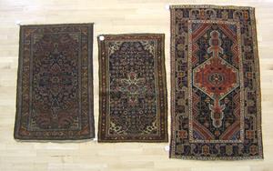 Three oriental mats, ca. 1930, largest - 5'5