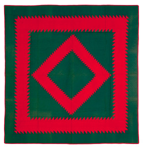 Amish green and red sawtooth diamond quilt, early0