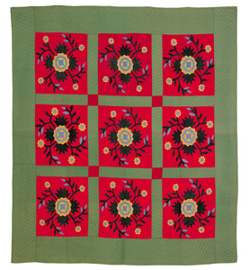 Applique whig rose quilt, early 20th c., 88