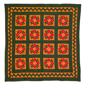 Pieced Presidents wreath quilt, early 20th c., wit