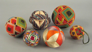 Six sewn and quilted sewing balls, late 19th c.