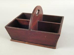 Pennsylvania walnut tool tray, early 19th c., with