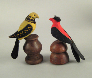 Pair of fabric bird figures, 19th c., with applied