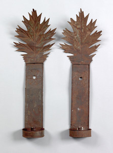 Pair of tinned sheet iron sconces, early 19th c.,i