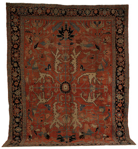 Roomsize Heriz rug, late 19th c., with allover pat