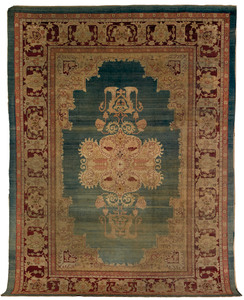 Roomsize Agra rug, ca. 1900, with central medallio