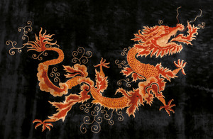Roomsize Peking rug, ca. 1935, with a dragon on al